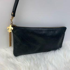 VTG Moss Mills Clutch Womens Glazed Black Leather
